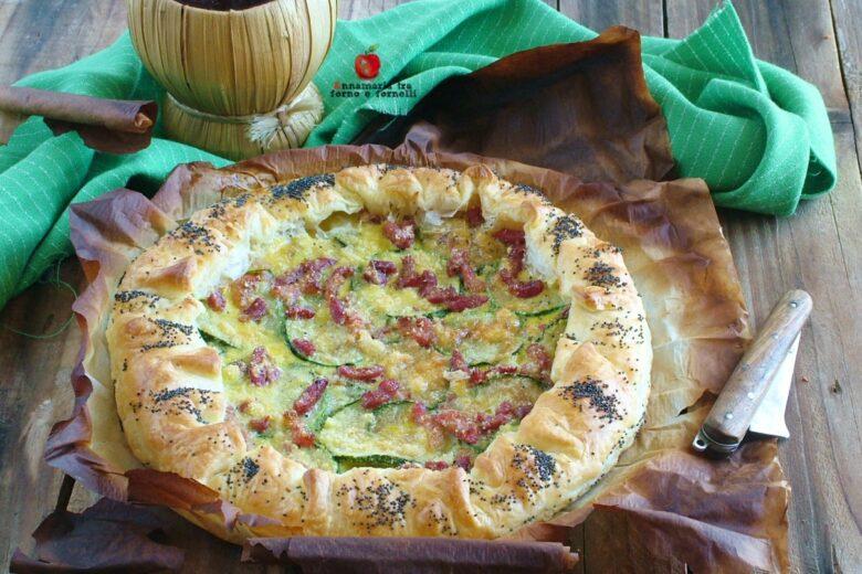 Torta di sfoglia con zucchine e pancetta
