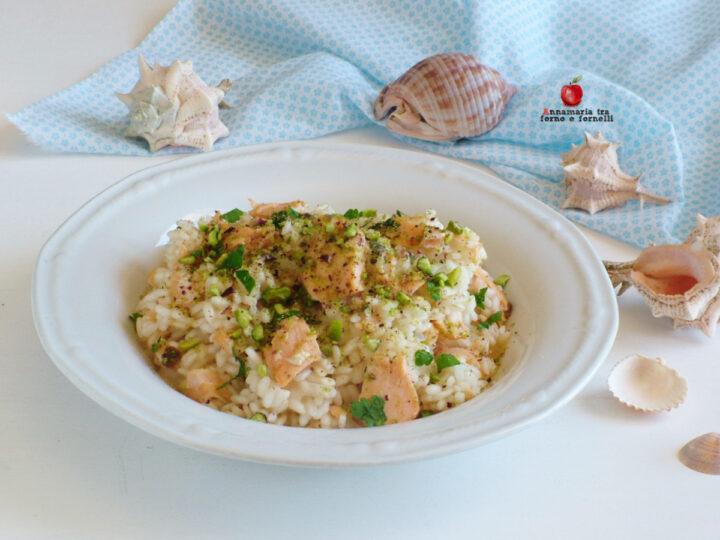 risotto con salmone e pistacchio