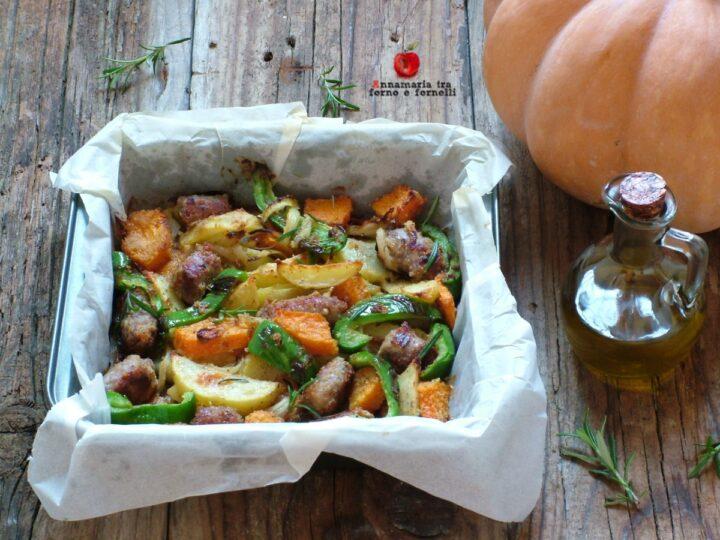 zucca al forno con patate salsiccia