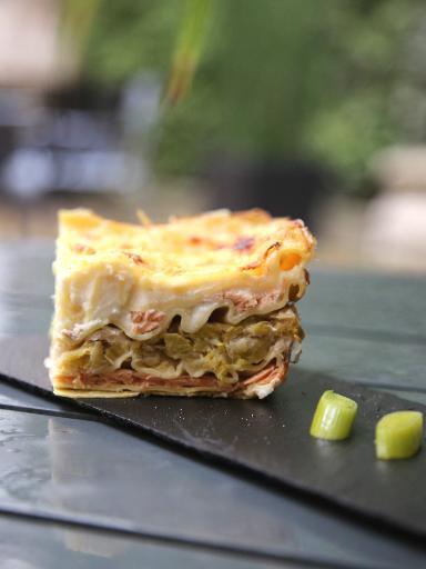 Lasagne porri e salmone