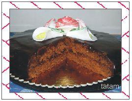 Torta Sacher con calle e rose in pdz
