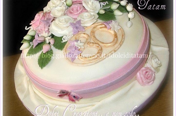 Torta Bouquet di rose perlate