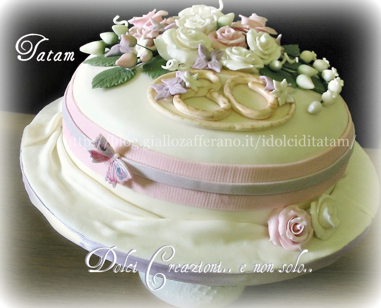 torta decorata rose perlate 7