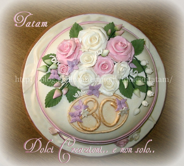 torta decorata rose perlate