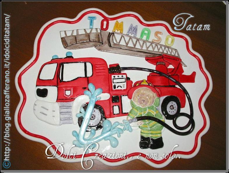 Placca Orsetto Pompiere | pasta di zucchero