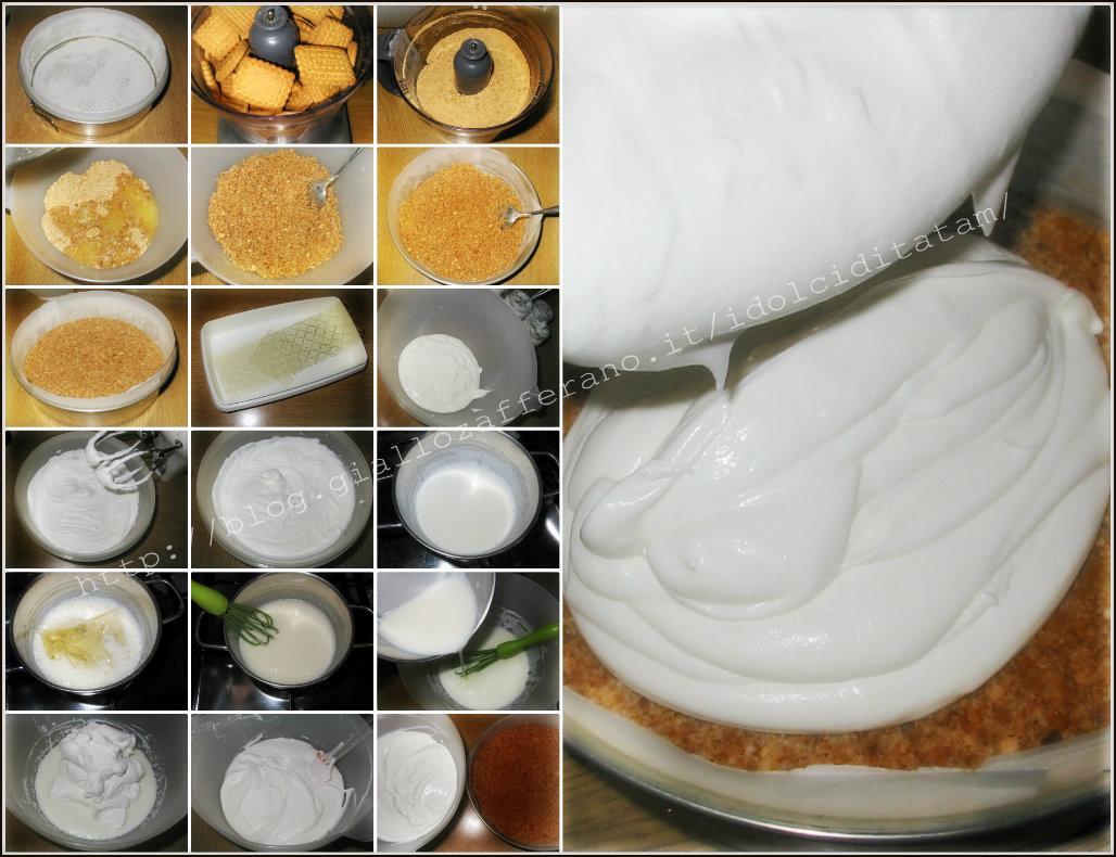 Torta Fredda allo Yogurt con purea di pesche noce