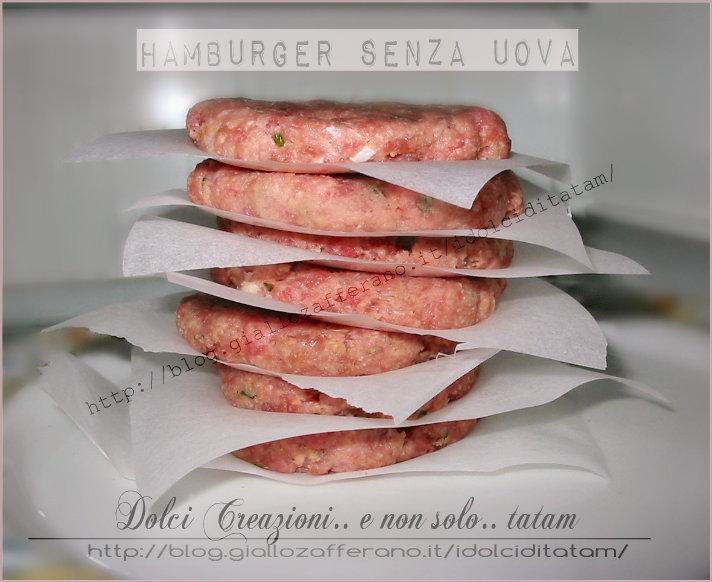 Hamburger di carne senza uova