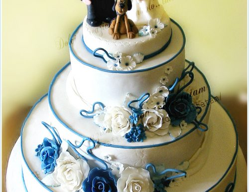 White and Blue Roses Wedding Cake