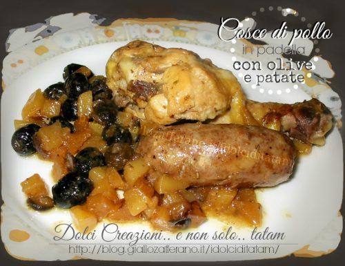 Cosce di pollo in padella con olive nere e patate