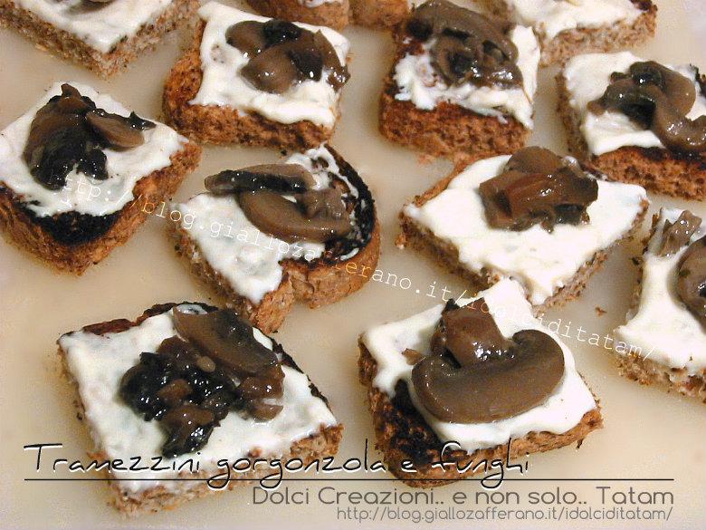 Tramezzini gorgonzola e funghi