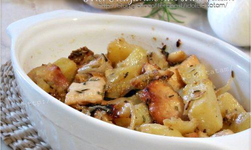 Pollo con patate e cipolle al forno