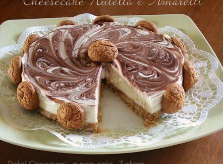Cheesecake variegata Nutella e amaretti