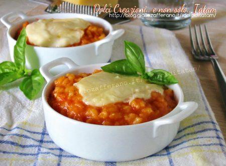 Risotto al pomodoro e formaggio filante