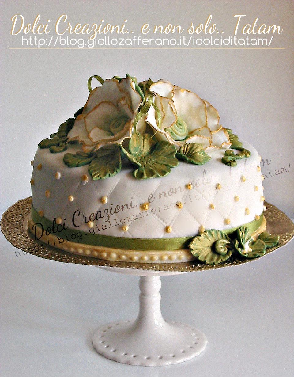 Torta Per Anniversario Di Matrimonio Giallo Zafferano.Torta Decorata Vintage Pasta Di Zucchero Senza Glucosio