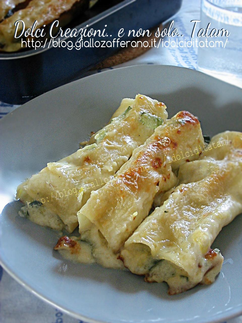 Cannelloni in bianco con zucchine e gorgonzola