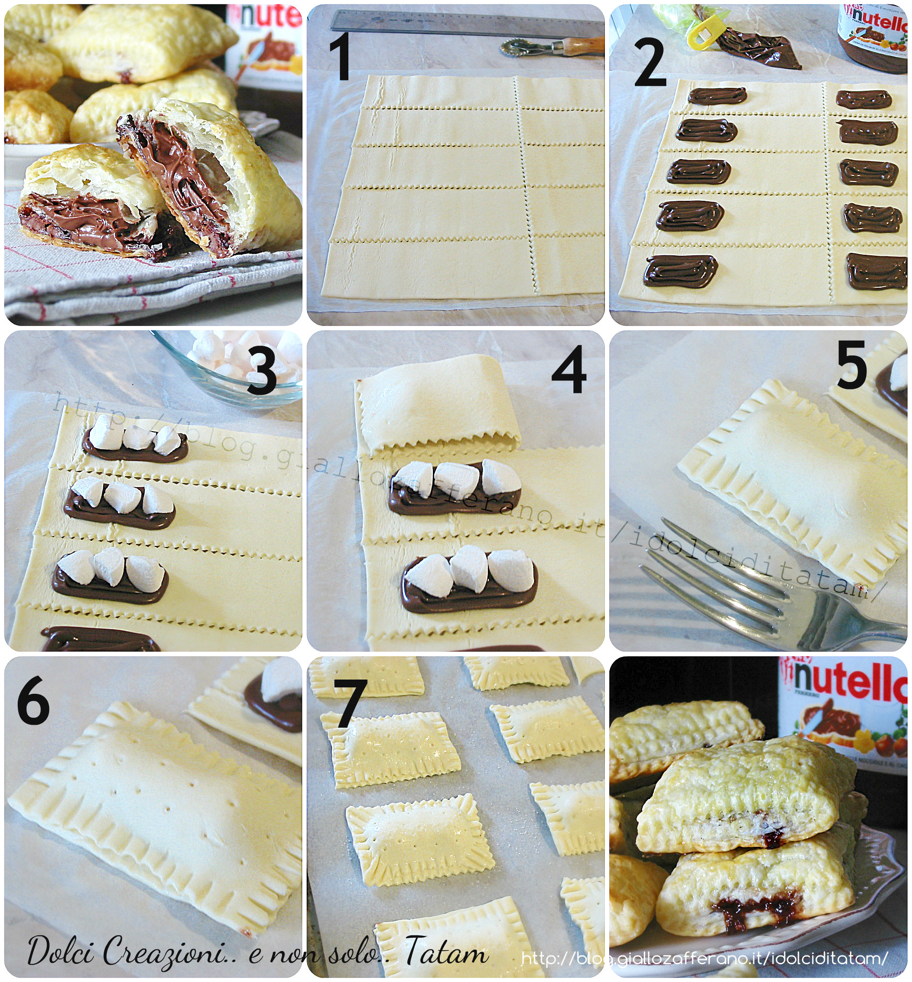 Saccottini ripieni di nutella e marshmallow