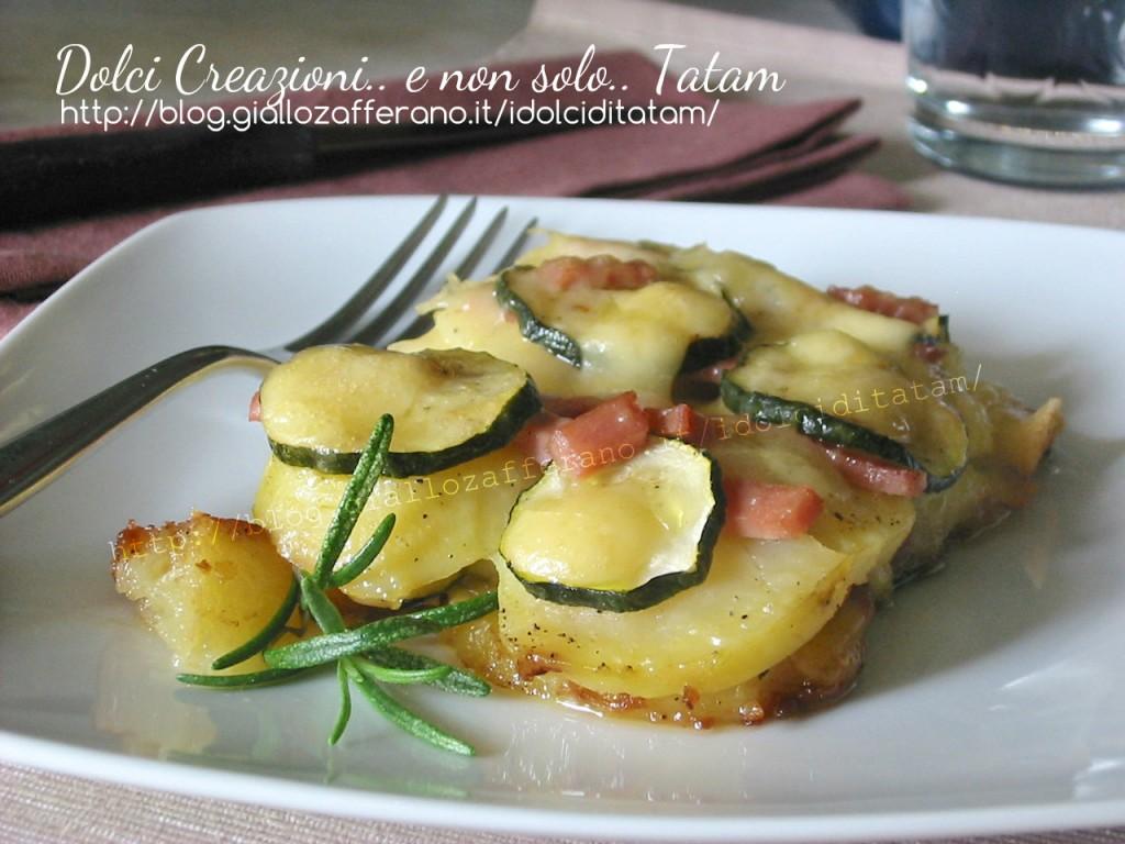 Tortino di patate e zucchine con mortadella 1