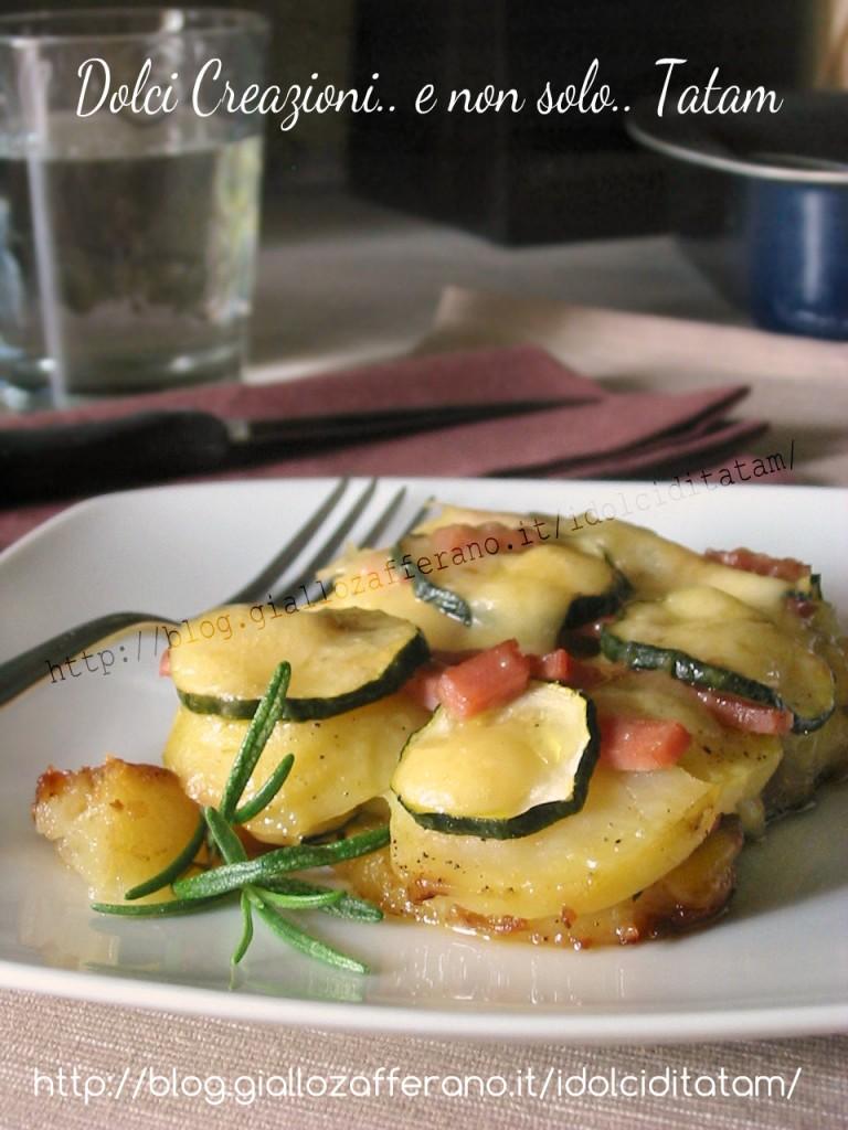 Tortino di patate e zucchine con mortadella
