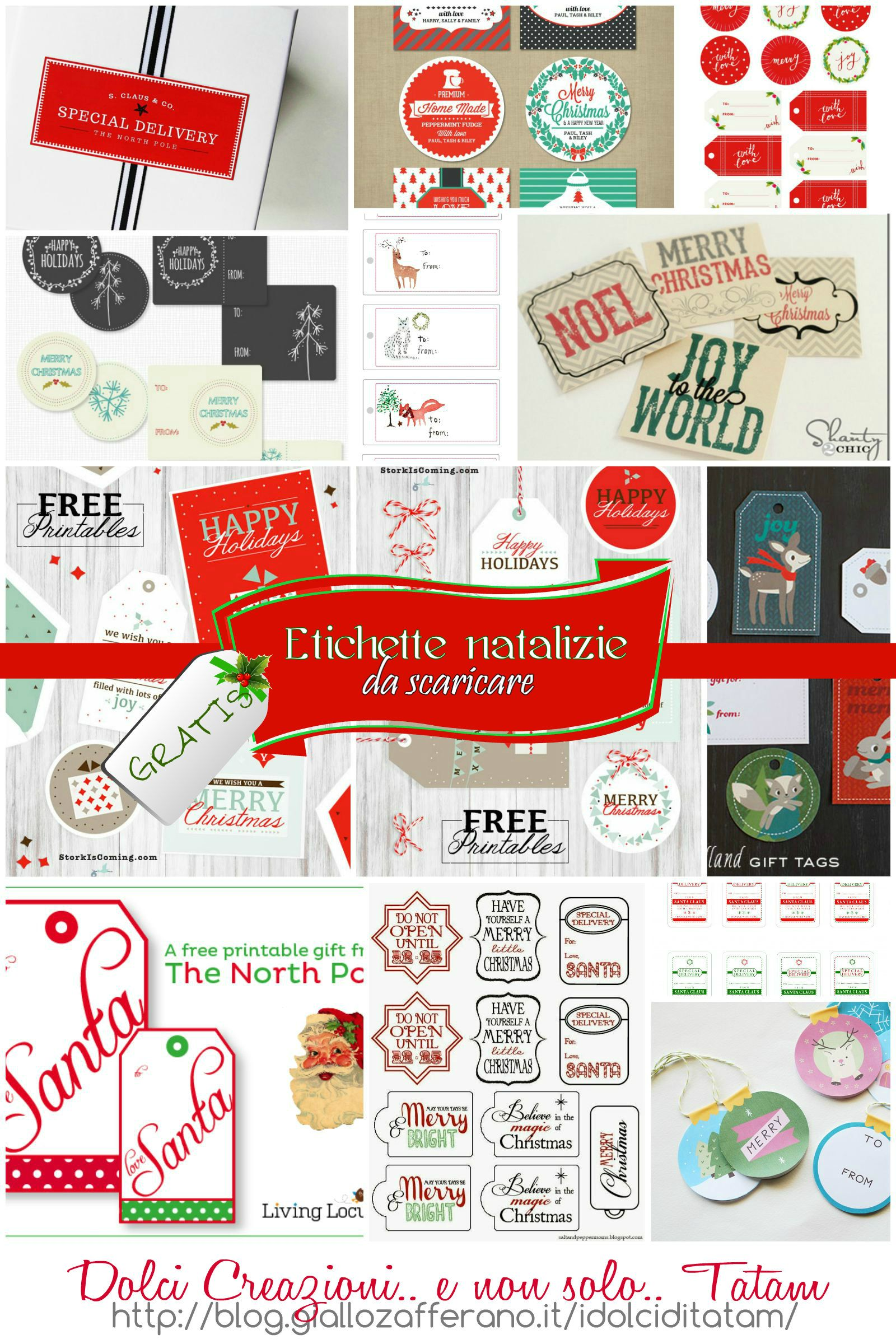 Etichette natalizie da stampare gratis, per pacchi regalo