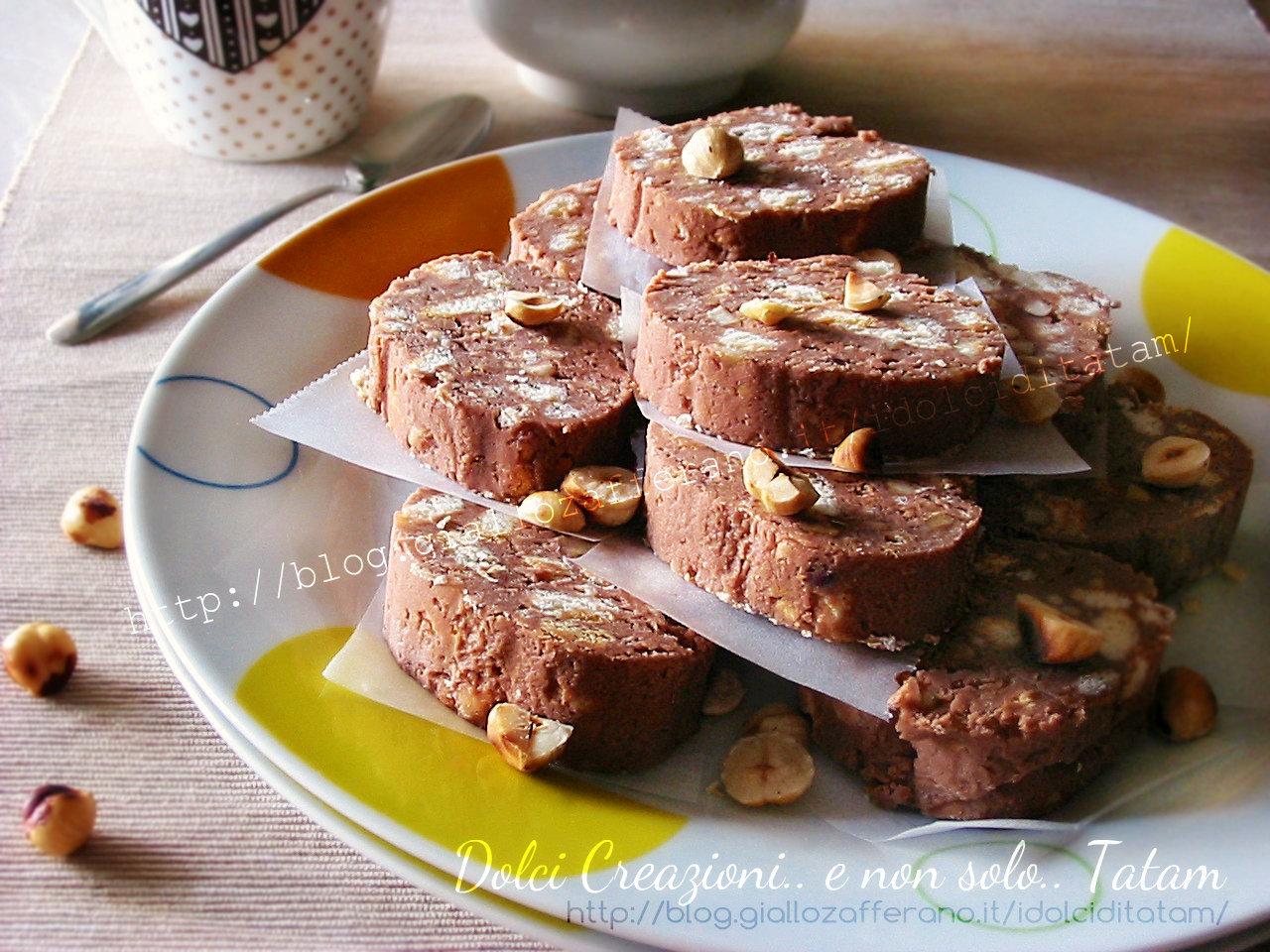 Salame al cioccolato con ricotta e nocciole