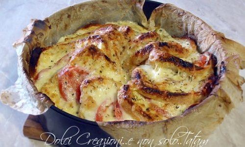 Torta di pane pomodoro e mozzarella