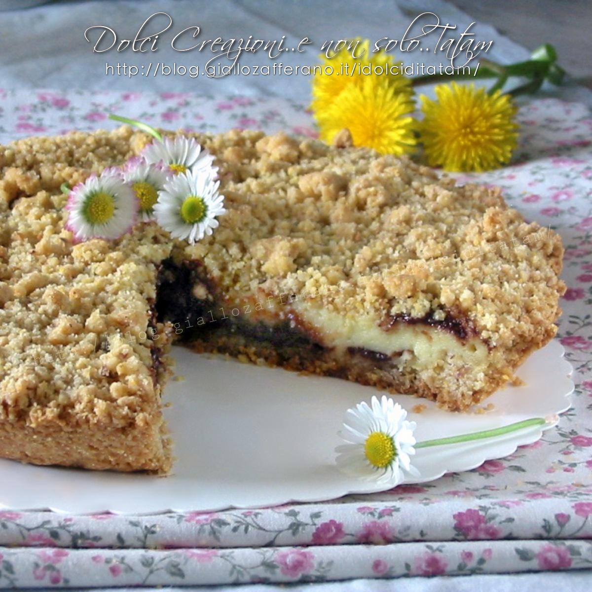 Torta sbrisolona crema e nutella, croccante e cremosa