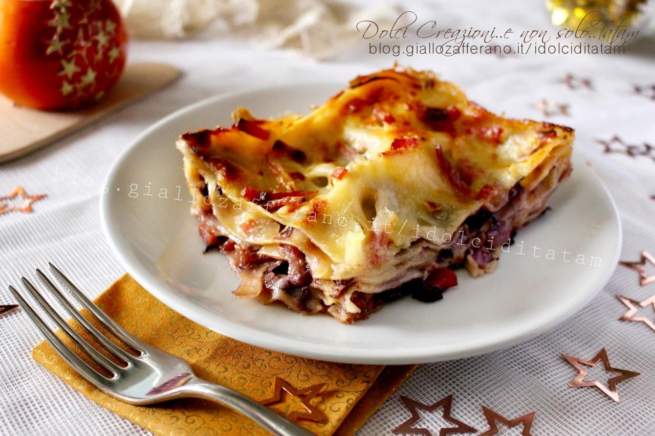 Lasagne al forno con radicchio e speck, facili e gustose