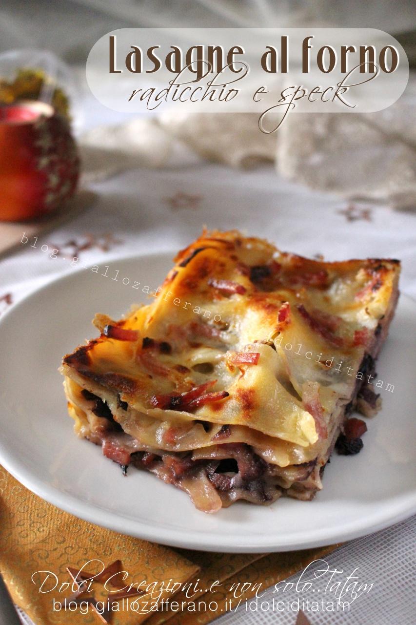 Lasagne al forno con radicchio e speck