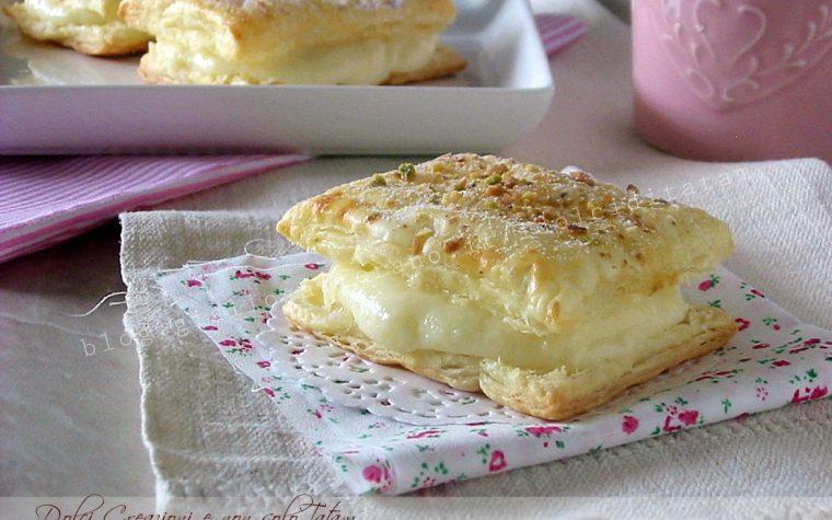 Sfogliatine alla crema e pistacchi, pasticcini golosi e veloci