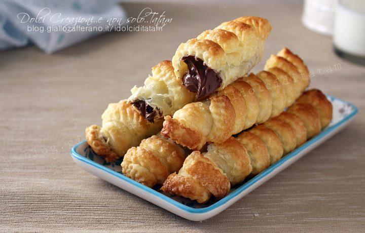Cannoli di pasta sfoglia e nutella, ricetta fotografata