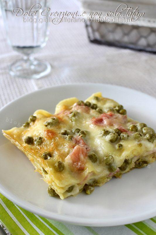 Lasagne in bianco piselli e prosciutto cotto