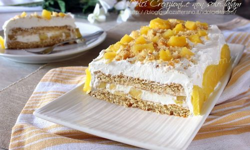 Torta gelato con ananas fresco e crema al latte condensato