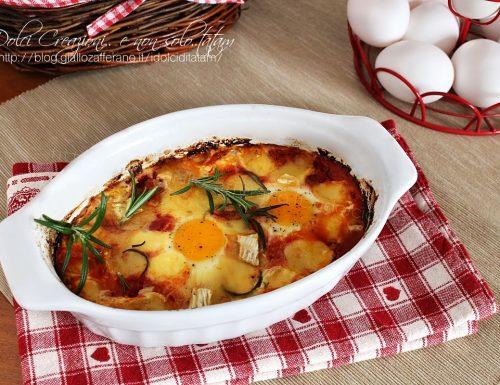 Uova al pomodoro al forno con brie e fontal