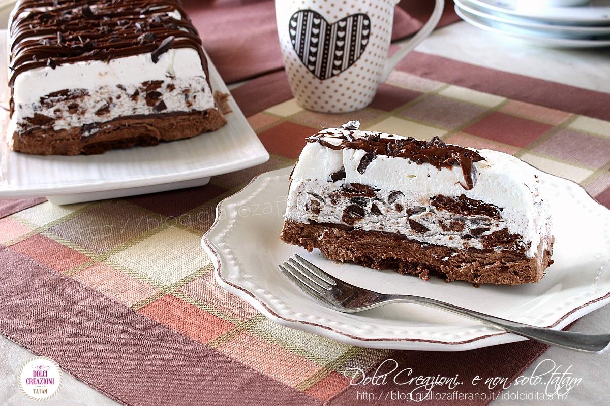 Torta gelato con nutella e biscotti