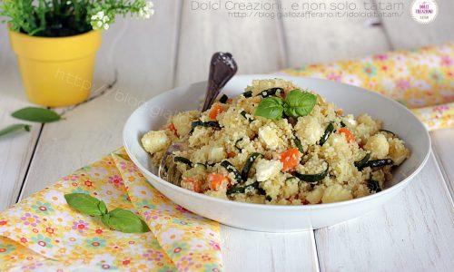Cous cous freddo alle verdure, con zucchine trifolate, carote e mozzarella