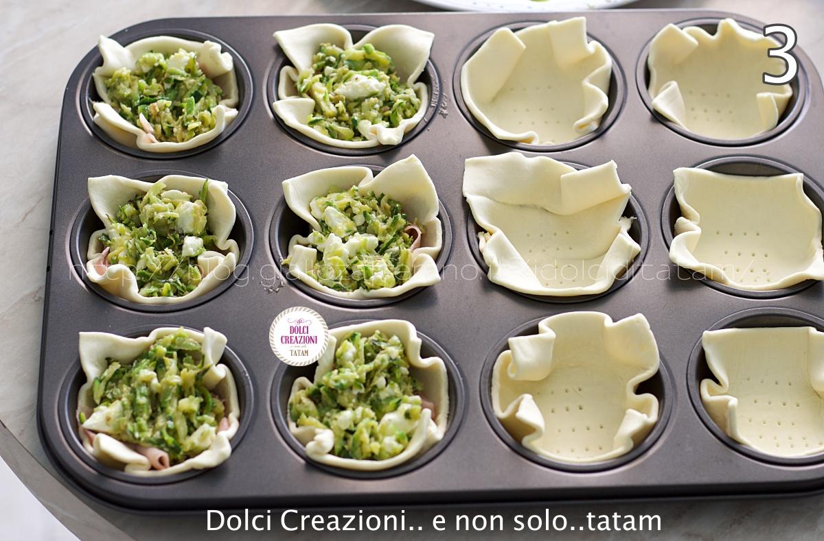 Cestini di pasta sfoglia con zucchine e feta