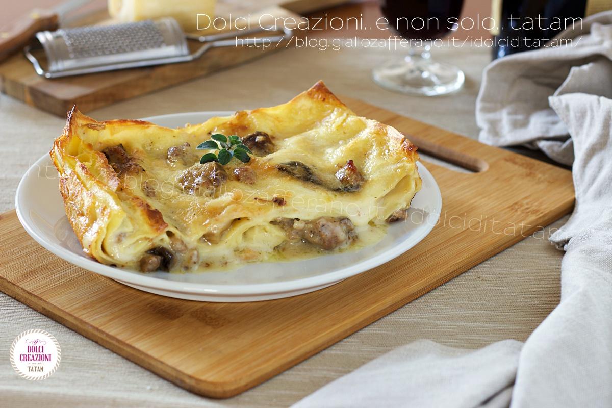 Lasagne salsiccia e funghi porcini in bianco
