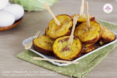 Frittatine al forno finger food con salsiccia e verza