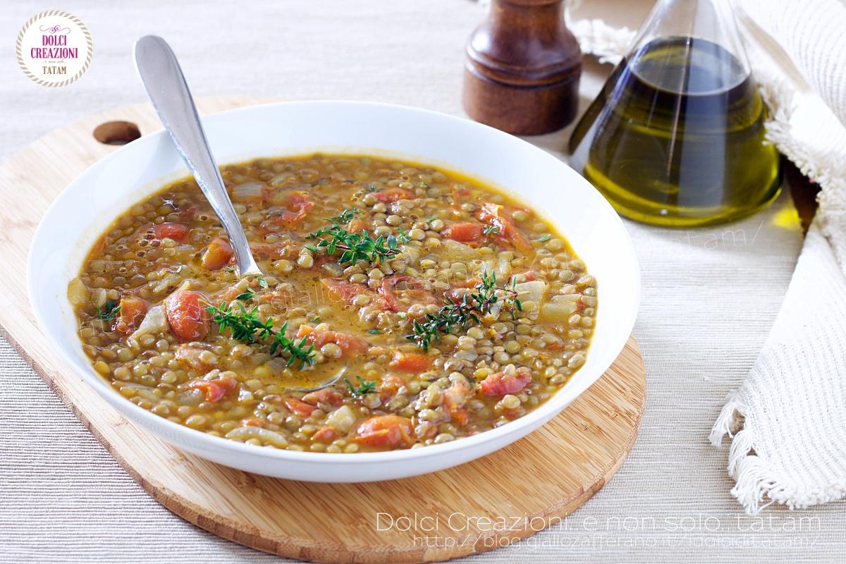 Ricetta Zuppa di lenticchie con pomodorini e timo