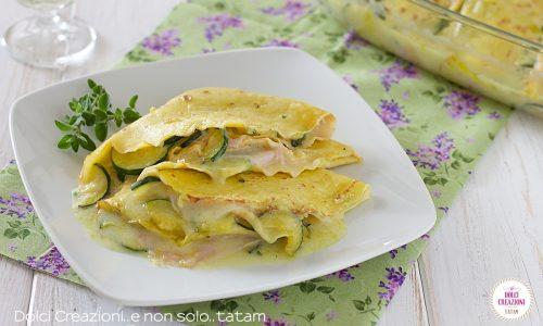 Crepes salate zucchine e prosciutto, gratinate in forno
