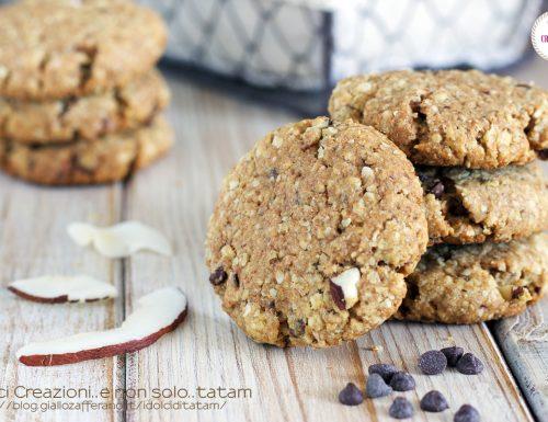 Biscotti integrali cocco e cioccolato, senza uova e senza latticini