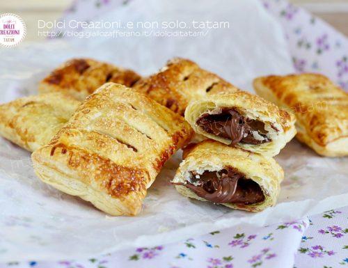 Fagottini di sfoglia alla nutella, in forno o in friggitrice ad aria in soli 7 minuti.