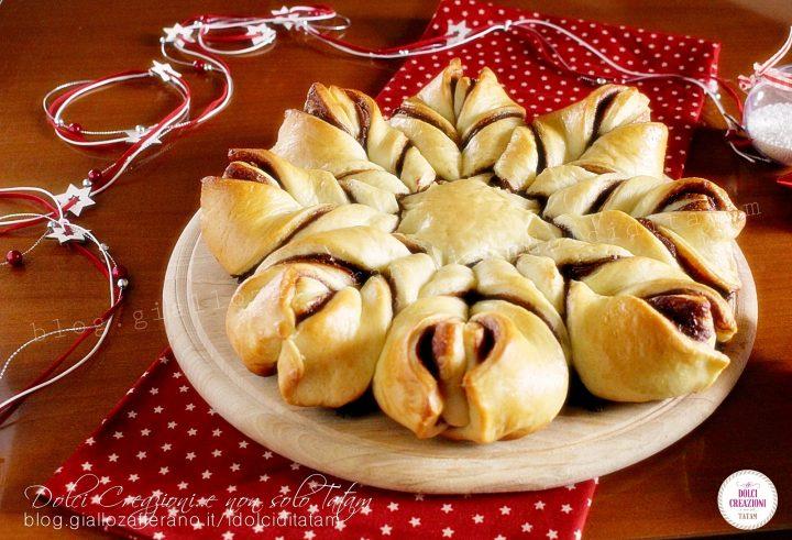 Torta stella di pan brioche alla nutella