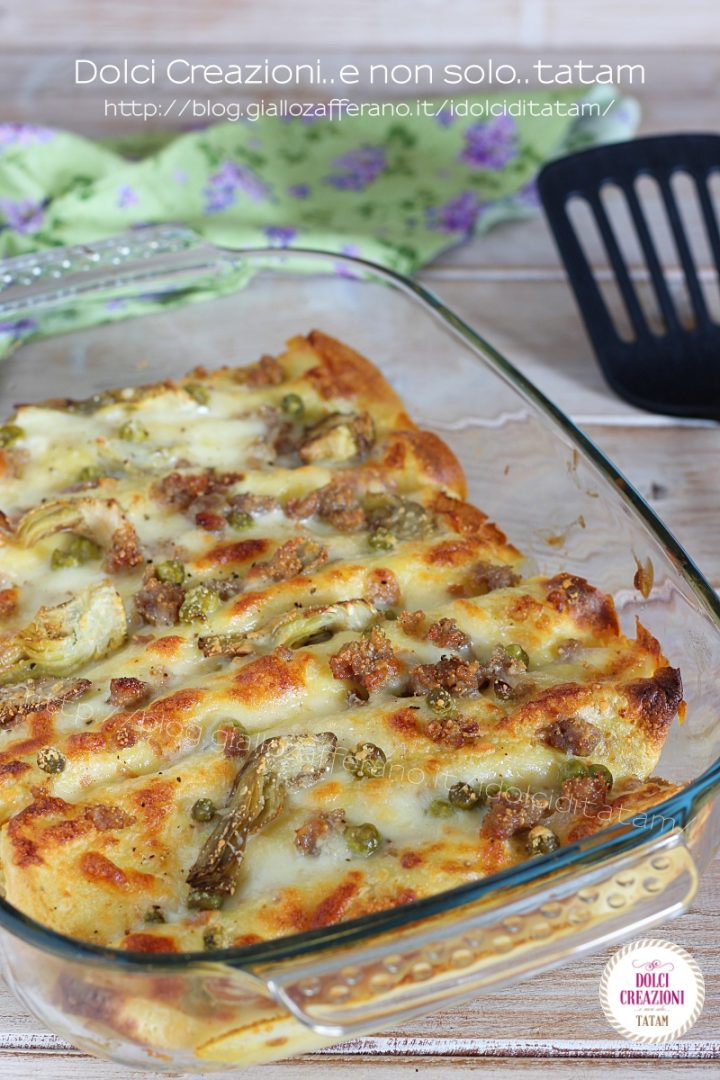 Cannelloni di crespelle salsiccia e carciofi