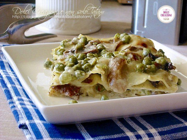 Lasagne ai piselli e funghi porcini