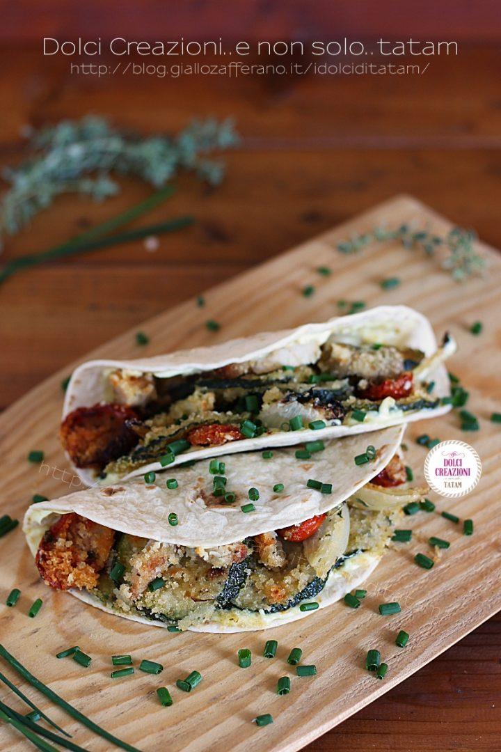 Tacos con verdure gratinate e tacchino al forno piccanti
