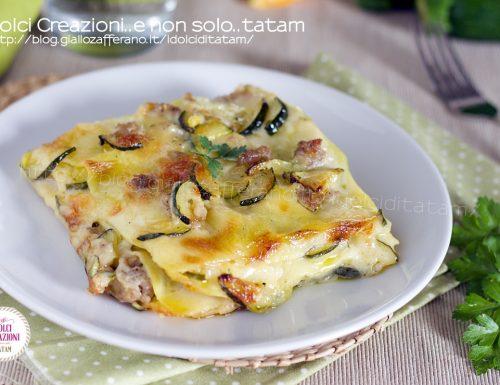Lasagne zucchine e salsiccia in bianco