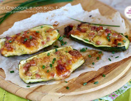 Zucchine al forno ripiene con prosciutto cotto e scamorza