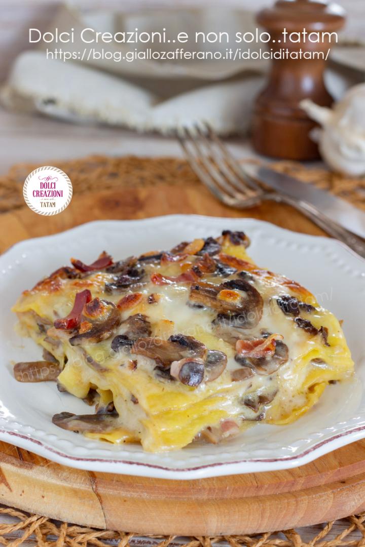 Lasagne funghi, speck e mozzarella