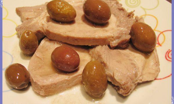 Lonza in umido con olive
